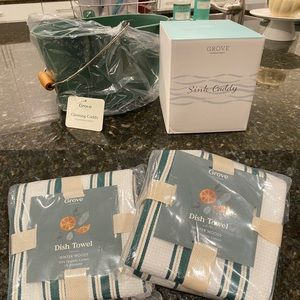 Grove sink caddy, cleaning caddy, and dish towels